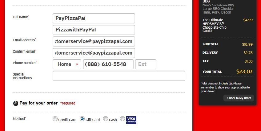 Pizza Hut with PayPal Guide